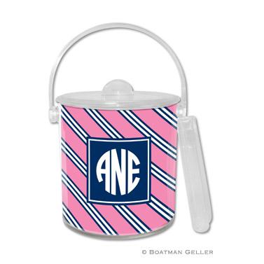 Repp Tie Pink & Navy Ice Bucket