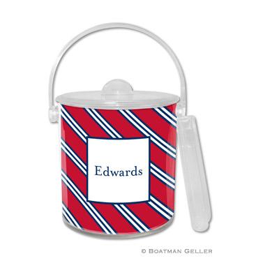 Repp Tie Red & Navy Ice Bucket
