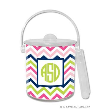 Chevron Pink, Navy & Lime Ice Bucket
