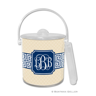 Greek Key Band Navy Ice Bucket