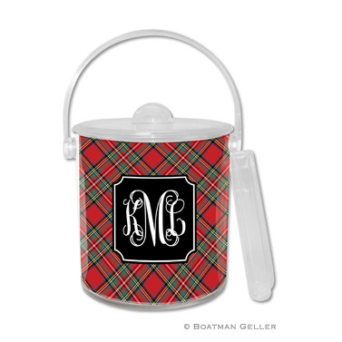 Plaid Red Holiday Ice Bucket