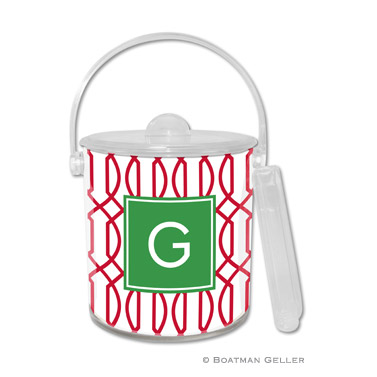 Trellis Reverse Cherry Holiday Ice Bucket