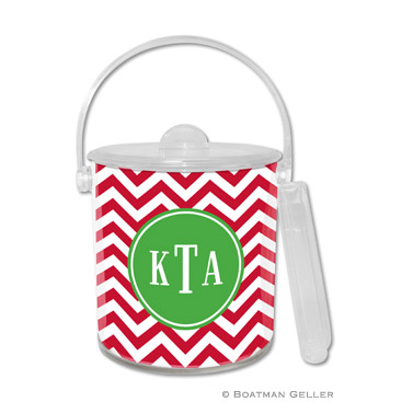 Chevron Red Holiday Ice Bucket