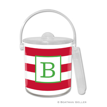 Awning Stripe Red Holiday Ice Bucket