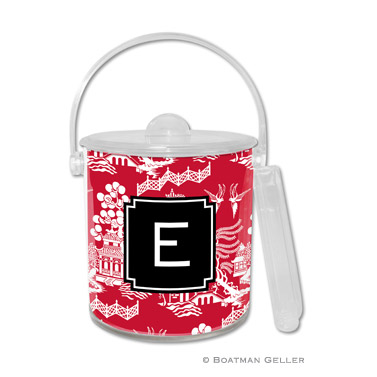 Chinoiserie Red Holiday Ice Bucket