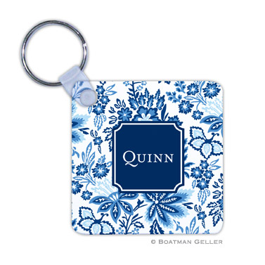 Classic Floral Blue Key Chain