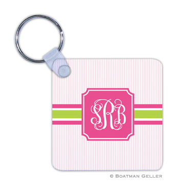 Seersucker Band Pink & Green Key Chain