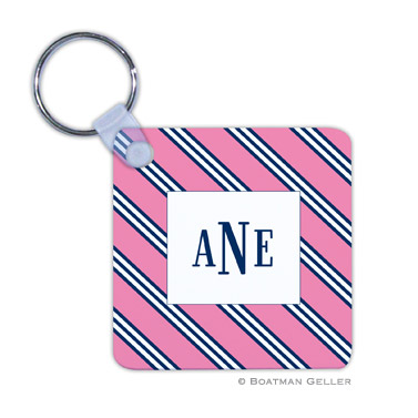 Repp Tie Pink & Navy Key Chain