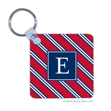Repp Tie Red & Navy Key Chain