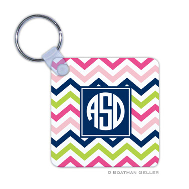 Chevron Pink, Navy & Lime Key Chain