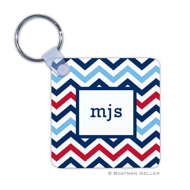Chevron Blue & Red Key Chain