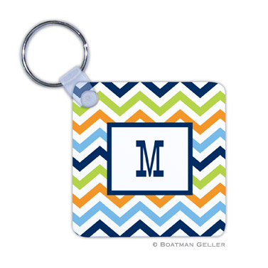 Chevron Blue, Orange & Lime Key Chain