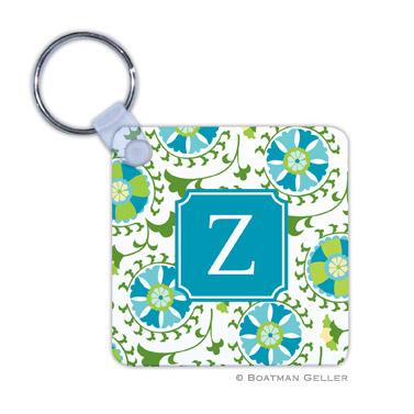 Suzani Teal Key Chain