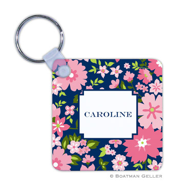 Caroline Floral Pink Key Chain