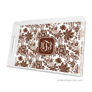 Classic Floral Brown Large Tray