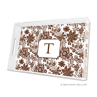 Classic Floral Brown Large Tray by Boatman Geller