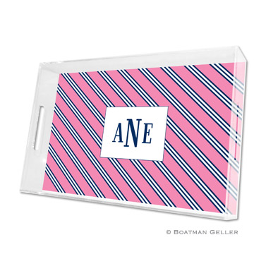 Repp Tie Pink & Navy Large Tray