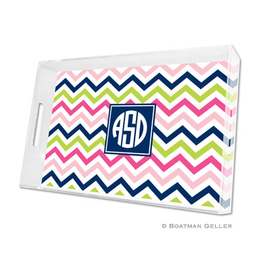 Chevron Pink, Navy & Lime Large Tray