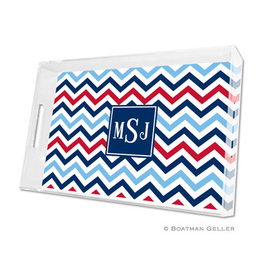 Chevron Blue & Red Large Tray