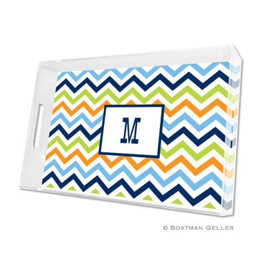 Chevron Blue, Orange & Lime Large Tray