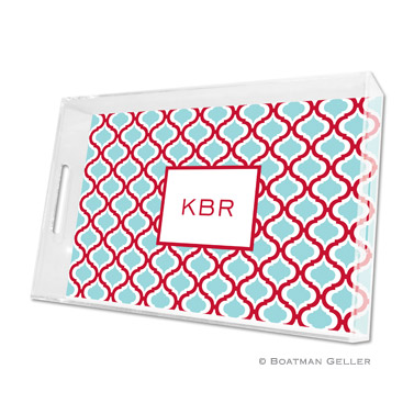 Kate Red & Teal Large Tray