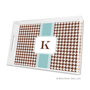 Alex Houndstooth Chocolate Large Tray