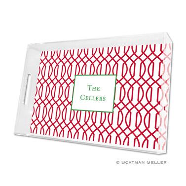 Trellis Reverse Cherry Holiday Tray