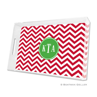Chevron Red Holiday Tray