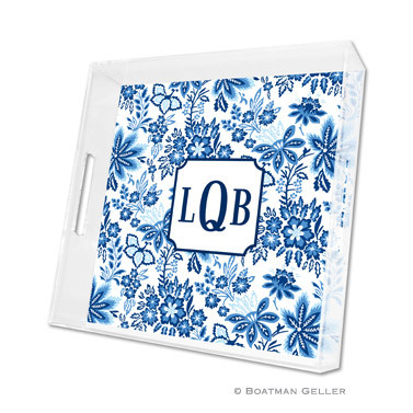 Classic Floral Blue Square Tray
