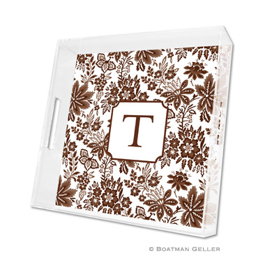 Classic Floral Brown Square Tray