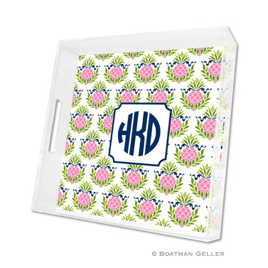 Pineapple Repeat Pink Square Tray