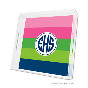 Bold Stripe Pink, Green & Navy Square Tray