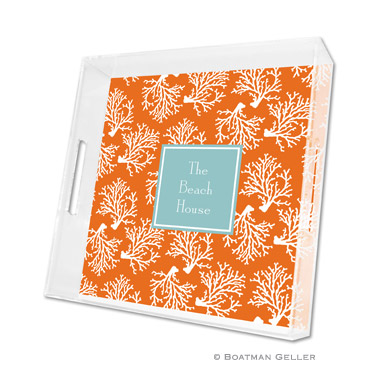 Coral Repeat Square Tray