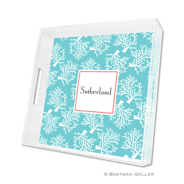 Coral Repeat Teal Square Tray