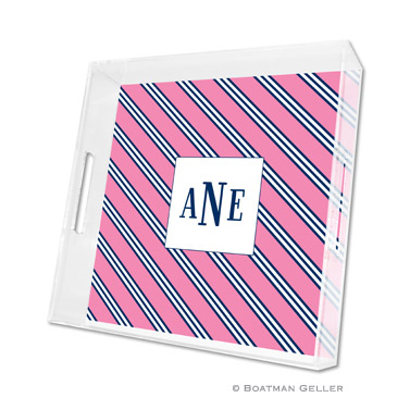 Repp Tie Pink & Navy Square Tray