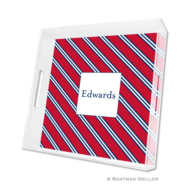 Repp Tie Red & Navy Square Tray