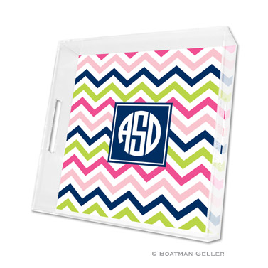 Chevron Pink, Navy & Lime Square Tray
