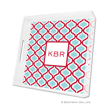 Kate Red & Teal Square Tray