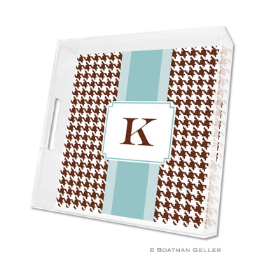 Alex Houndstooth Chocolate Square Tray