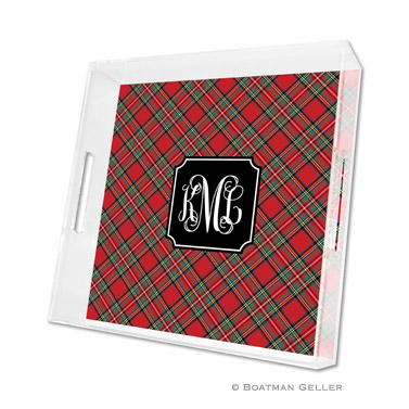 Plaid Red Holiday Square Tray