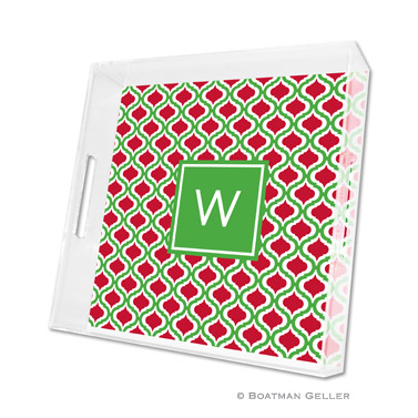 Kate Kelly & Red Holiday Square Tray by Boatman Geller