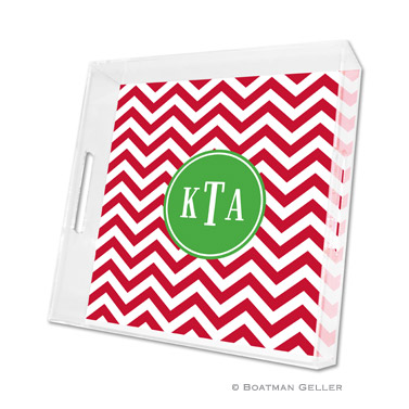 Chevron Red Holiday Square Tray by Boatman Geller
