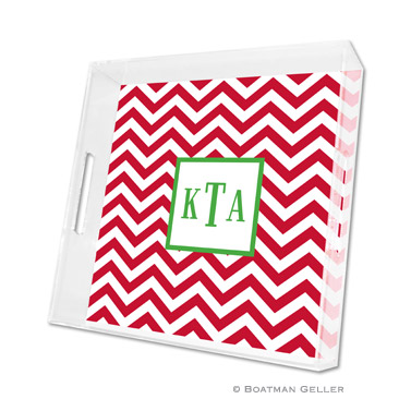 Chevron Red Holiday Square Tray