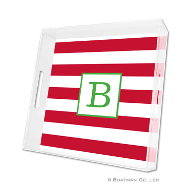 Awning Stripe Red Holiday Square Tray by Boatman Geller