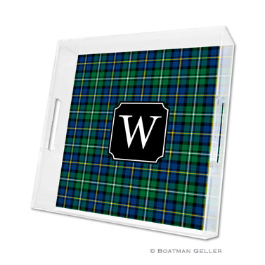 Black Watch Plaid Holiday Square Tray by Boatman Geller