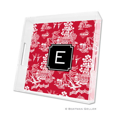 Chinoiserie Red Holiday Square Tray by Boatman Geller