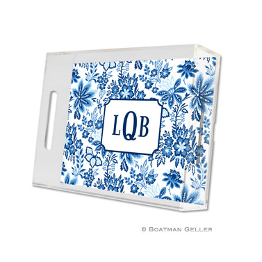 Classic Floral Blue Small Tray by Boatman Geller