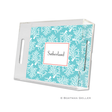 Coral Repeat Teal Small Tray