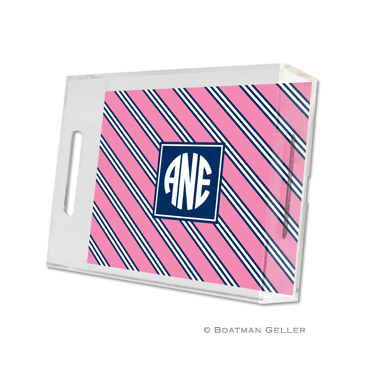 Repp Tie Pink & Navy Small Tray