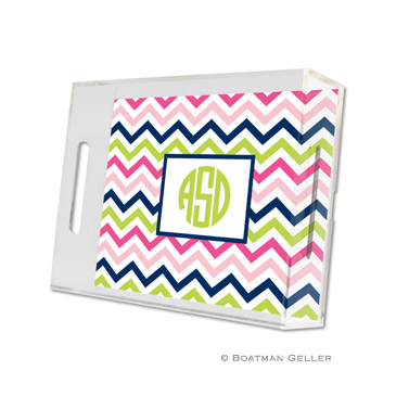 Chevron Pink, Navy & Lime Small Tray
